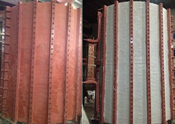 Red mud in induction coil of medium frequency furnace